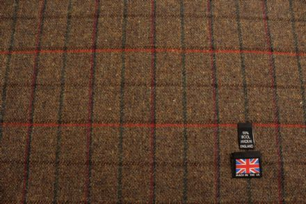 100% Pure New Wool Small Check Tweed Fabric | BZ54